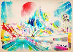 10 000 micro sieverts of love by beaucoupzero Stellar Freestyle Illustrations by Matei Apostolescu Pixel Art, Illustration, Amazing Drawings, Dark Art, Abstract Art, Digital Art, Rainbow, Beautiful, Artwork