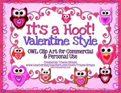 It's a Hoot! Valentine Style Owl Clipart & Graphics for Commercial & Personal Use