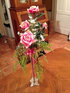 Tall clear glass vase with Pink Silk Roses and white jasmine  floral arrangement #Handmade