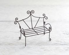 Fairy Garden Bench - Miniature Rustic Metal Wire Furniture – Smile Mercantile Craft Co. #fairyfurniture #GardenBench
