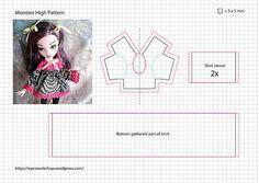 Eye& tailor shop - More Monster High Fashion Monster High Doll Clothes, Custom Monster High Dolls, Monster Dolls, Custom Dolls, Barbie Sewing Patterns, Doll Dress Patterns, Sewing Doll Clothes, Sewing Dolls, Accessoires Barbie