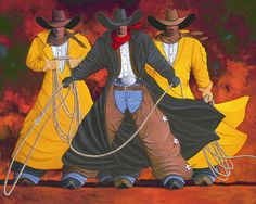 GOOD, BAD & UGLY cowgirl and cowboy painting by Lance Headlee http://lance-headlee.artistwebsites.com/featured/good-bad-and-ugly-gbu-lance-headlee.html see more Lance Headlee original western paintings at http://lanceheadlee.com/category/contemporary-western-collection/