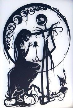 Nightmare Before Christmas Silhouette Handcut Paper Craft Tim Burton Personajes, Nightmare Before Christmas Drawings, Tim Burton Art, Christmas Artwork, Pinturas Disney, Flash Art, Halloween Signs, Dark Fantasy Art, Picture Design