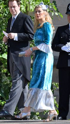 The 8 Royal Wedding Guest Pieces You Can Actually Buy Sara Parker Bowles wearing a blue velvet dress from The Vampire's Wife<br> From Jimmy Choo pumps to Alessandra Rich dresses, you too can buy a slice of royal wedding guest style right here. Royal Wedding Guests Outfits, Royal Weddings, Camilla, The Vampires Wife, Harry Wedding, Blue Velvet Dress, Meghan Markle Wedding, Prinz Harry, Wedding Guest Style