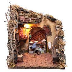 Scena interno casa illuminata 30x30x30 ambiente presepe napoletano | vendita online su HOLYART