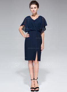 4fe20c948b Sheath Column V-neck Knee-Length Chiffon Mother of the Bride Dress With