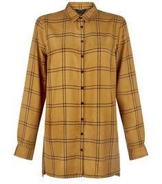 Olive Grid Check Longline Shirt