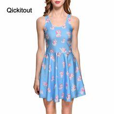 Drop Ship Brand New Hot Sexy Women Casual Dress Marie Reversible Skater Dress Pleated Print Dresses