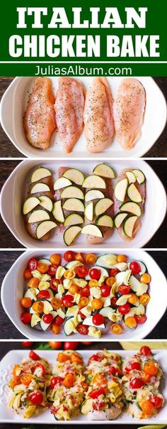 Italian Chicken Bake with Vegetables (tomatoes, zucchini, artichokes) Italian Baked Chicken, Italian Chicken Recipes, Baked Chicken Breast, Baked Chicken Recipes, Chicken Breasts, Chicken Thighs, Healthy Baked Chicken, Recipes With Chicken Zucchini, Recipes