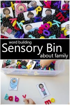 Family Sensory Bin for Kids – Pre-K Preschool Activities Family Sensory Bin for Kids Practice building words and letter recognition as you learn about different family members in this family sensory bin activity for a preschool family theme. Preschool Family Theme, Preschool At Home, Preschool Lessons, Preschool Crafts, November Preschool Themes, August Themes, Preschool Alphabet, Daycare Crafts, Alphabet Letters