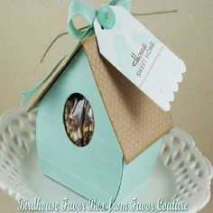 "Favor Boxes & Containers - Favor Couture - Kate Aspen Favors / Favor Boxes & Containers ""Love Nest"" Bird House Favor Box (Set of 24)-Matching Personalized Tag Available This enchanting favor expresses every meaning of the day to perfection. The clear-disp  favorcouture.theaspenshops.com"