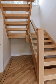 stockwell-ltd. Sleeper tread, open-rise dog-leg stair in American white oa. House Staircase, Staircase Design, Spiral Staircase, Cottage Stairs, Rustic Stairs, Building Stairs, Building Homes, Open Stairs, Wrought Iron Stairs