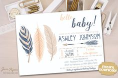 INSTANT DOWNLOAD  Tribal Baby Shower Invitation  by JanePaperie
