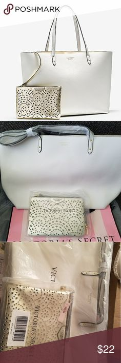 VS white tote A white tote, and a gold beauty bag Victoria Secret Bags Totes