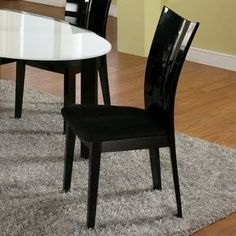 Chintaly Imports Lafayette Microfiber Side Chair with Black Seat