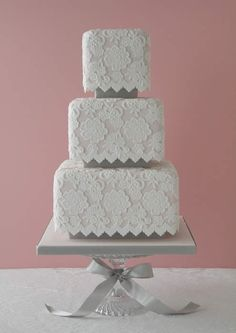 Lace wedding cake...simple and cute!