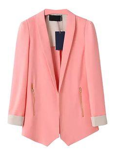 Pink Zipped Pocket Blazer with Contrast Cuffs   Choies