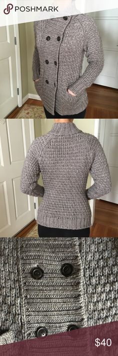 🎀🛍Like NEW🛍🎀Caslon Sweater Size small.  Caslon sweater.  Total of 8 buttons and 2 pockets.  Kind of a gray/taupe color.  Purchased at Nordstrom.  Only worn 1 time.  I love this sweater but it is too heavy for Southern California weather!  Excellent condition. No damage. Caslon Sweaters
