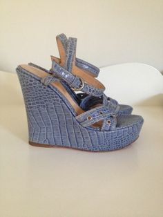Sergio Rossi Blue Croc Embossed Leather Sandal Wedges 36.5 #SergioRossi #OpenToe