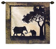 "Delectably-Yours.com Serengeti Elephants Tapestry Wall Hanging 44"" x 43"""