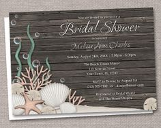 Rustic Beach Bridal Shower Invitations - Printed or Printable - Seashells over Dark Wood