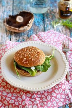 """Roasted portabella and goat cheese """"burger!"""""""