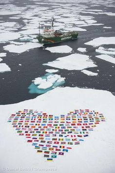 A tripulação do Arctic Sunrise construiu um coração usando as bandeiras dos 193 países-membros das Nações Unidas em um bloco de gelo no Ártico para pedir que a Assembleia Geral da ONU decida proteger o Ártico. Líderes mundiais se reuniram no dia 19 de setembro para discutir as mudanças nas regiões polares e definir uma resposta adequada da comunidade internacional ao problema. (©Daniel Beltrá/Greenpeace)