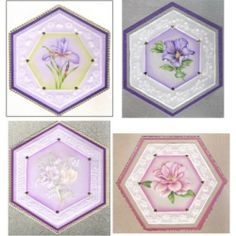 Pack 70 - General Four new floral designs from Christine in hexagonal frames. The patterns are designed as 4 projects that can be framed but each one can just as easily be made into a card if you prefer. Stunning designs. http://www.cccollection.co.uk/original-parchment-craft-patterns-and-packs/christine-coleman-pattern-packs?page=6