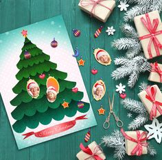 Family Tree Collage Merry Christmas Tree by BlueberryDreamDesign