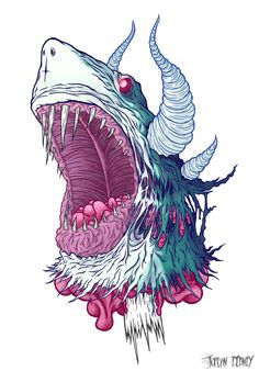 Jordan Debney, mejor conocido como Eye Rupture, es un joven ilustrador talentoso. Sus paletas de colores y técnicas encajan perfectamente en la fusión de diversas criaturas.  http://eyerupture.com/