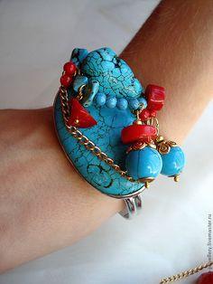 "lusia-LAZURELLI Браслет ""КАРИБСКИЕ ТАЙНЫ"" Bead Jewellery, Jewelry, Turquoise Bracelet, Cuff Bracelets, Beads, Fashion, Beading, Moda, Jewlery"
