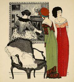 Les Robes de Paul Poiret, 1908.    Art-Nouveau -styled fashion plate by French fashion designer Paul Poiret.
