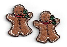 "[2 Count Set] Custom and Unique (1 1/4"" x 1"") Gingerbread Man Cookie Iron On Embroidered Applique Patch {Brown, White and Red Colors} myLife Brand Products http://www.amazon.com/dp/B011JDY61U/ref=cm_sw_r_pi_dp_96APvb0MT7JA1"