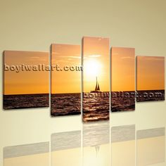 "Contemporary Landscape Sunset Pier Hd Picture Prints Canvas Wall Art Framed Extra Large Wall Art, Gallery Wrapped, by Bo Yi Gallery 72""x40"". Contemporary Landscape Sunset Pier Hd Picture Prints Canvas Wall Art Framed Subject : Sunrise Style : Contemporary Panels : 5 Detail Size : 12""x40""x1,12""x32""x2,16""x24""x2 Overall Size : 72""x40"" = 183cm x 102cm Medium : Giclee Print On Canvas Condition : Brand New Frames : Gallery wrapped [FEATURES] Lightweight and easy to hang. High revolution giclee..."