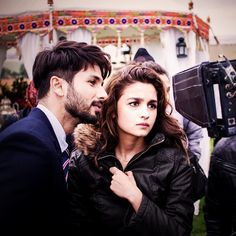 Alia Bhatt with Shahid Kapoor on the sets of Shandaar. via Instagram