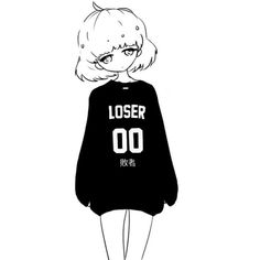 cute Black and White kawaii My art monochrome Anime girl anime art... ❤ liked on Polyvore featuring filler
