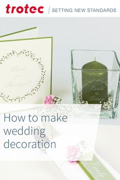 Trotec Laser, Diy Wedding Decorations, Laser Engraving, Create Yourself, Lanterns, Place Card Holders, Glass, Projects, Log Projects