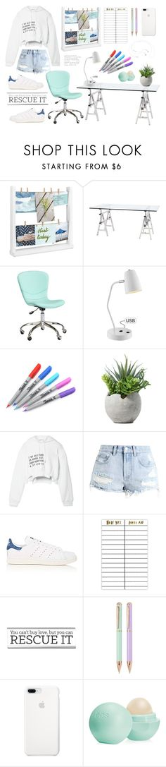 """""""On my desk"""" by makimpm ❤ liked on Polyvore featuring Umbra, Eichholtz, PBteen, Lite Source, Sharpie, T By Alexander Wang, Billabong, adidas, Terrapin Stationers and Eos"""