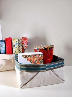 Edith and Kaye: Fabric Basket Tutorial Using a Drop Cloth