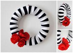 Villámgyors, egyszerű, pipacsos ajtódísz, kopogtató - Masni, Easy, quick and beautiful poppy flower door wreath, door decoration DIY
