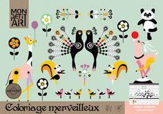 Mon Petit Art: Malebog Dansende dyr her - Mimi´s Circus Coloring Books, Coloring Pages, Dancing Animals, Modern Toys, Animal Magic, Creation Couture, Textiles, Love Illustration, Diy For Kids