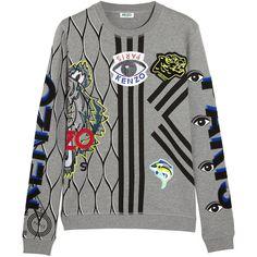 Appliquéd cotton-jersey sweatshirt (2.215 HRK) ❤ liked on Polyvore featuring tops, hoodies, sweatshirts, sweaters, jumper, outerwear, kenzo, kenzo sweatshirt, cotton jersey and kenzo top