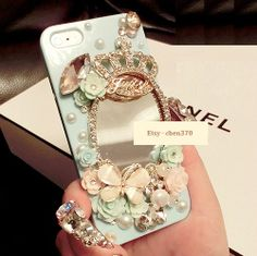 Princess Make-up Mirrors Crown Butterfly DIY Phone Case Deco Den Kit  & Free iPhone Case