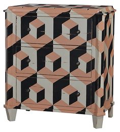One Kings Lane - Furnish Your Bedside - Beverly Dresser, Peach/Black/Multi