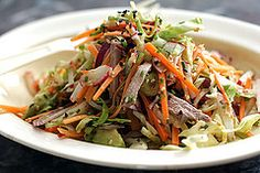 Cole Slaw with Wasabi Dressing | David Lebovitz (cabbage, radish, carrot, avocado, cornichon, chive, sesame seeds - asian fusion)