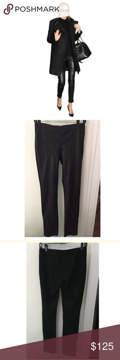 Helmut Lang Leather Jersey Pants Amazing pants! Leather in the front and jersey in the back. Has a side zipper at the bottom. Worn once! It has stretch as well. Helmut Lang Pants Leggings
