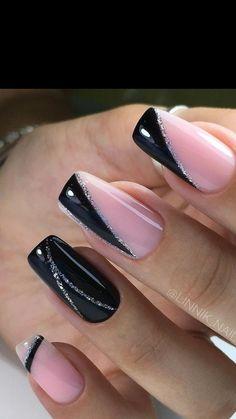 Elegant Nail Designs, Black Nail Designs, Elegant Nails, Classy Nails, Chic Nails, Stylish Nails, Trendy Nails, Black Acrylic Nails, Best Acrylic Nails