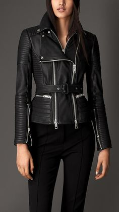 $3,295, Black Quilted Leather Biker Jacket: Burberry Zip Detail Leather Biker Jacket. Sold by Burberry. Click for more info: https://lookastic.com/women/shop_items/101172/redirect