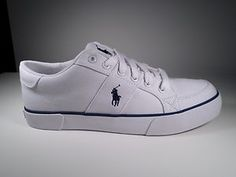 Ralph Lauren Polo Mens Casual Shoe Harold White Navy Canvas New In Box