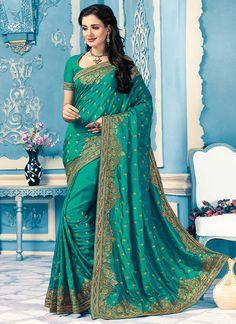 Buy Teal Green Crepe Silk Saree, sari Online Shopping, SAMSC601